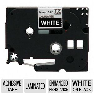 "Brother TZe325 3/8"" (0.35"") White/Black Tape (26.2"