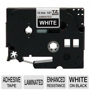 "Brother TZe335 1/2"" (0.47"") White/Black Tape (26.2"