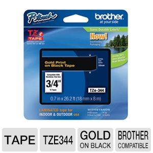 "Brother TZe344 3/4"" (0.7"") Gold/Black Tape (26.2 F"