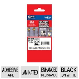 "Brother TZeS211 1/4"" (0.23"") Black/White ES Tape ("