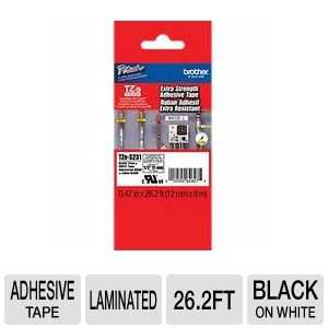 "Brother TZeS231 1/2"" (0.47"") Black/White ES Tape ("