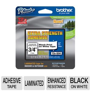 Brother TZeS241 3/4&quot; (0.7&quot;) Black/White ES Tape (2
