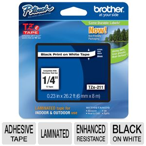"Brother TZe211 1/4"" (.23"") Black/White Tape (26.2"