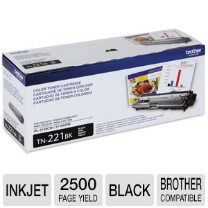 Brother TN221BK Black Toner - up to 2,500 pages