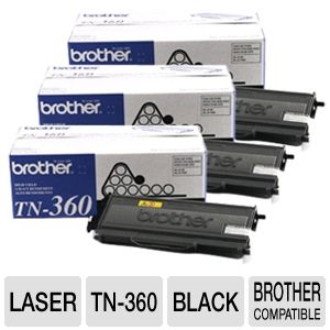 Brother TN-360 Black Toner (2.6K Yield) 3-pack