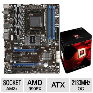 MSI 990FXA-GD65 AMD 990FX Socket AM3+ Mothe Bundle