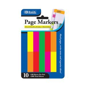 BAZIC 100 Ct. Neon Page Marker - 5141-24