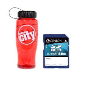 Centon 8G Flash Card w/ Circuit City Water Bottle
