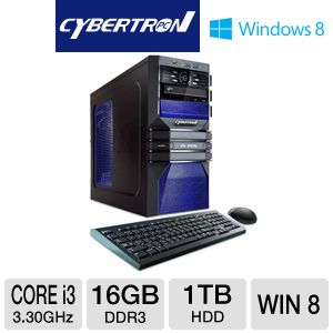 CybertronPC Core i3 1TB HDD 16GB DDR3 Gaming PC