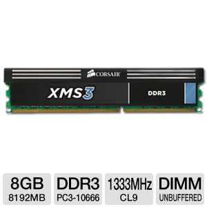 Corsair XMS3 8GB DDR3 Desktop Memory Module