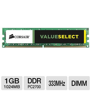 Corsair ValueSelect 1GB PC2700 DDR 333MHz Memory