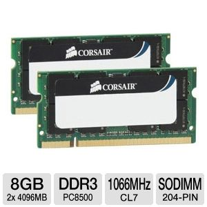 Corsair 8GB PC8500 DDR3 1066Mhz SODIMM Memory