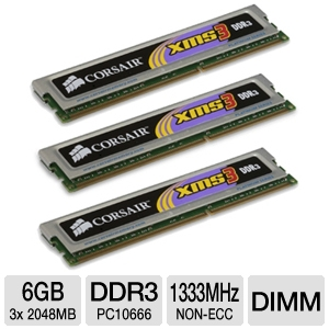 Corsair XMS3 Tri Channel 6GB PC10666 DDR3 Memory