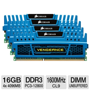 Corsair Vengeance 16GB (4x 4GB) DDR3 Memory Kit