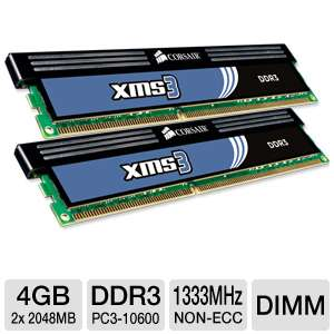 Corsair PC10600 1333MHz 4GB DDR3 Desktop Memory