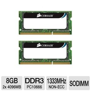 Corsair 8GB PC10666 SODIMM Laptop Memory