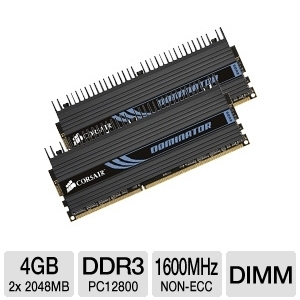 Corsair Dominator Dual Channel 4GB PC12800 DDR3 RA