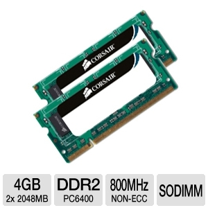 Corsair 4GB DDR2 PC6400 Dual Channel SODIMM RAM