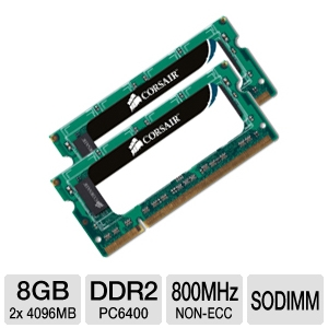 Corsair 8GB DDR2 PC6400 Dual Channel SODIMM RAM