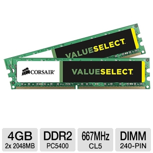 Corsair 4096MB PC5400 DDR2 Memory