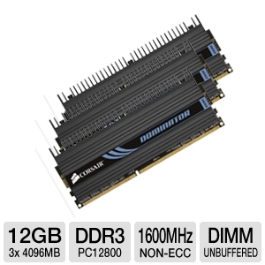 Corsair Dominator 12GB PC12800 Triple Channel RAM