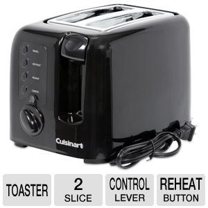 Cuisinart Electronic Compact 2-Slice Black Toaster