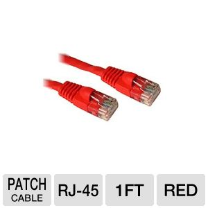 Cables To Go 1-Foot CaT5e Patch Cable, Red