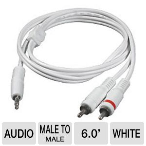 Cables To Go 6-Foot Y Adapter 3.5mm to 2-RCA Plugs
