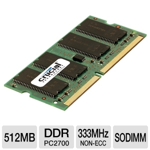 Crucial 512MB DDR SODIMM Laptop Memory