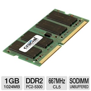 Crucial 1024MB PC2-5300 DDR2 SODIMM Laptop Memory