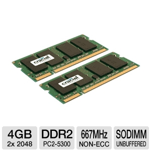 Crucial 4GB (2x 2GB) DDR2-667MHz Laptop Memory Kit