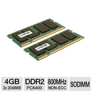 Crucial 4GB Dual Channel Laptop Memory Module Kit