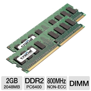 Crucial 2048MB PC6400 DDR2 Memory 2- Pack