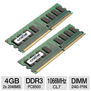 Crucial Dual Channel 4GB Memory