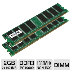 Crucial 2GB PC10600 DDR3 1333MHz Desktop Memory Up