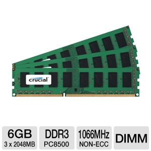 Crucial PC8500 1066MHz 6GB DDR3 Memory