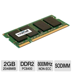 Crucial PC2-6400 800MHz 2GB DDR2 SODIMM Laptop