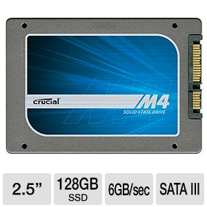 "Crucial 128GB m4 2.5"" SSD with Data Transfer Kit"