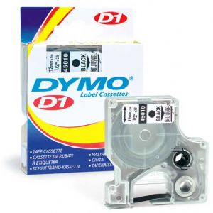 "Dymo Labelmanager D1 Clear 1/2"" Tape Black Print"