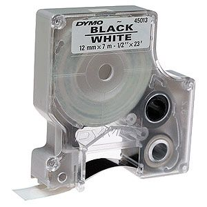 "Dymo Labelmanager D1 White 1/2"" Tape Black Print"