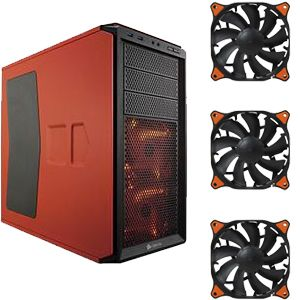 CORSAIR 230T Orange Case & 3x COUGAR Fan Bundle