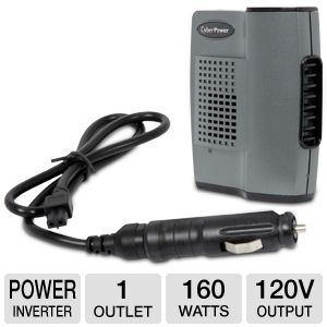 CyberPower Mobile Power Inverters - 12v DC Automobile Power to Standard 120v AC Home Power, Up To 160 Watts, 1 x 120v Outlet, USB Port