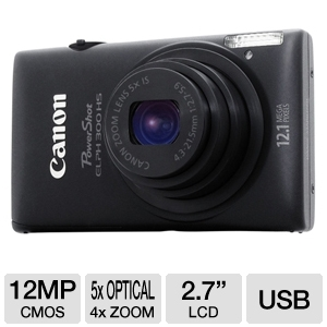 Canon 300 HS PowerShot Elph Black 12MP Camera