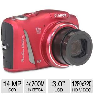 Canon SX150 Red PowerShot Digital Cameras