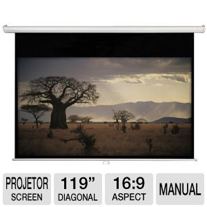 "AccuScreen 119"" HDTV 16:9 Manual Projection Screen"