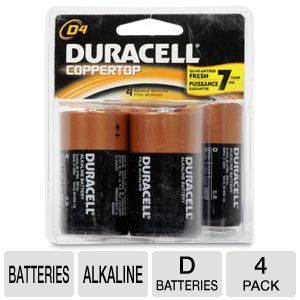 Duracell CopperTop 4-Pack D Batteries
