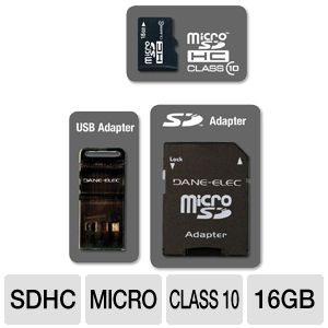 Dane-Elec DA-3IN1C1016G-R 16GB Micro SDHC Card