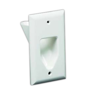 DATACOMM 45-0001-WH 1-Gang Recessed Plate