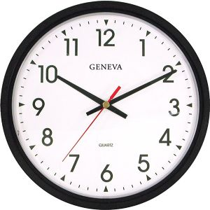 14 BLK PLSTC QUARTZ WALL CLOCK