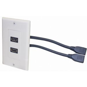 2-HDMI PIGTAIL WALL PLATE WHITE